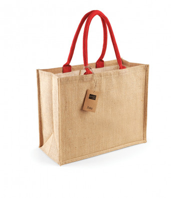 natural bright red jute shopping bag