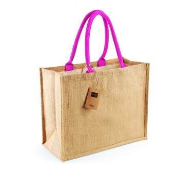 natural fuchsia jute shopping bag