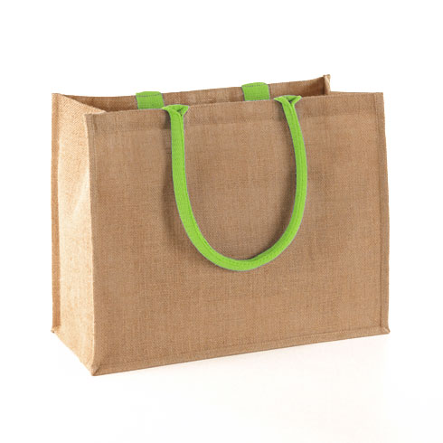 natural lime jute shopping bag