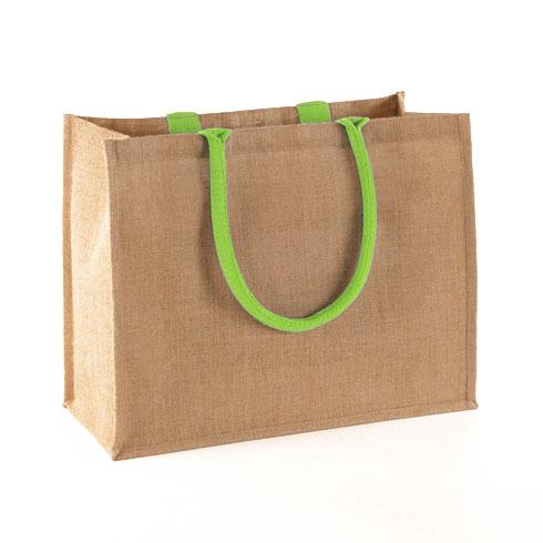 natural lime jute shopping bag