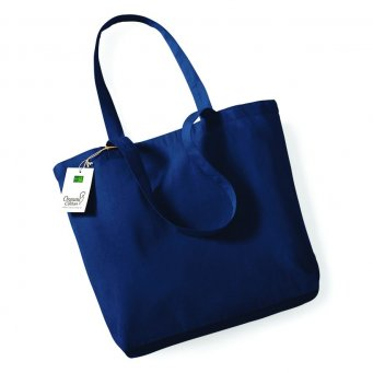 navy organic cotton shopper tote bag