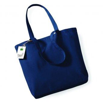 navy organic cotton shopper tote bag