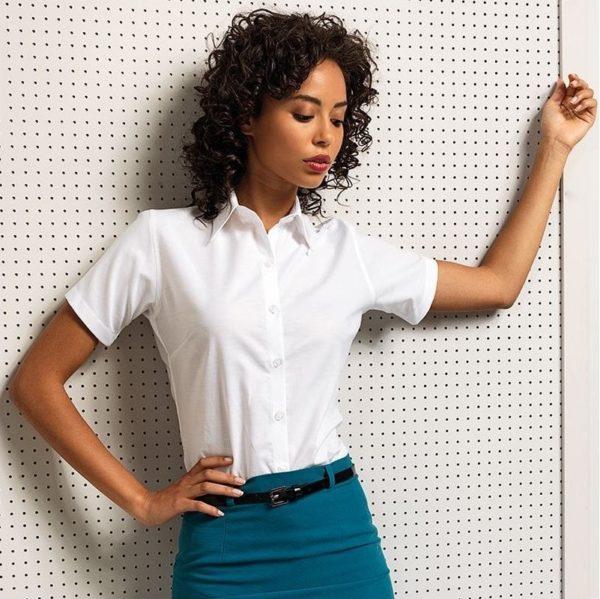 premier womens signature oxford short sleeve shirt PR336 1