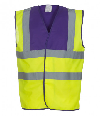 purple yellow hi vis vest