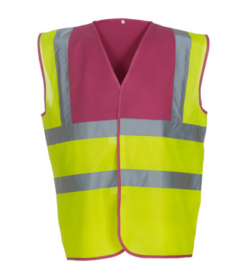raspberry yellow hi vis vest