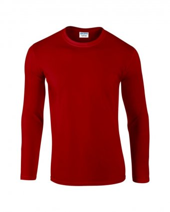red long sleeve cotton t shirt
