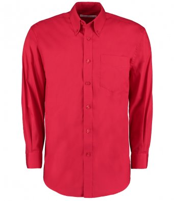 red long sleeve oxford shirt