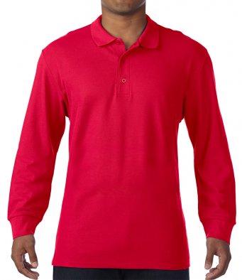 red long sleeve polo shirt