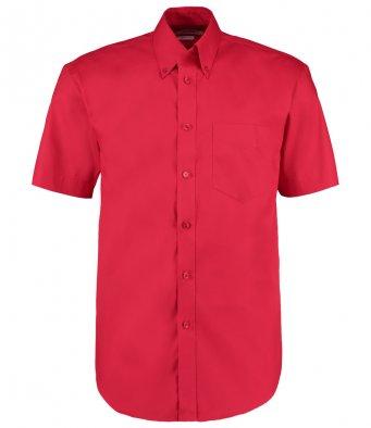 red oxford short sleeve shirt