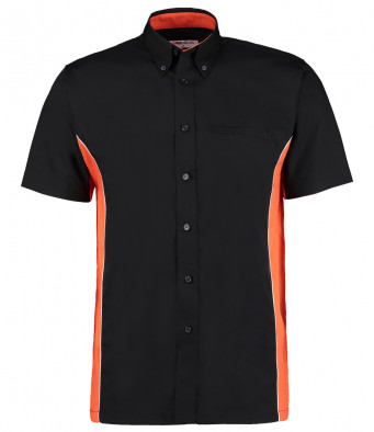short sleeve sports shirt black orange