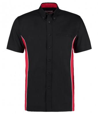 short sleeve sports shirt black red