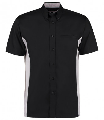 short sleeve sports shirt black silver