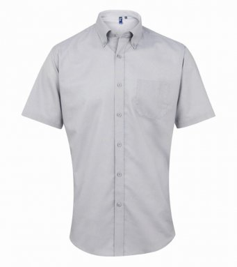 silver short sleeve oxford shirt