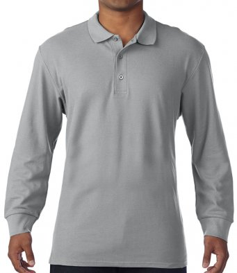 sport grey long sleeve polo shirt