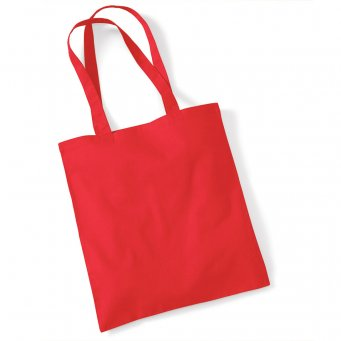 tote bag long handles brightred