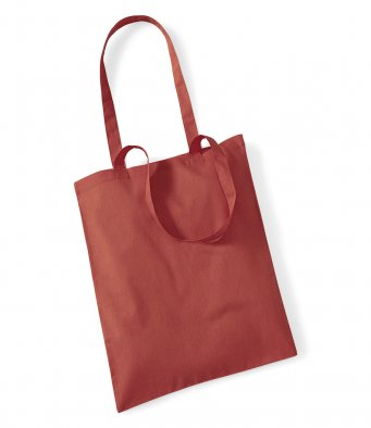 tote bag long handles orange rust