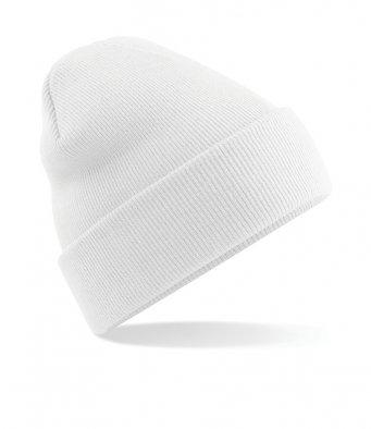 white cuffed beanie