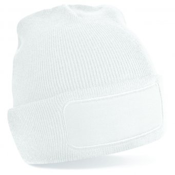 white printed beanie