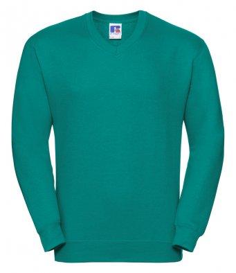 winter emerald v neck sweatshirt