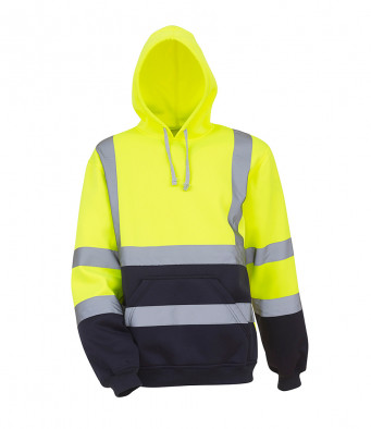 yellow navy hi vis hoodie