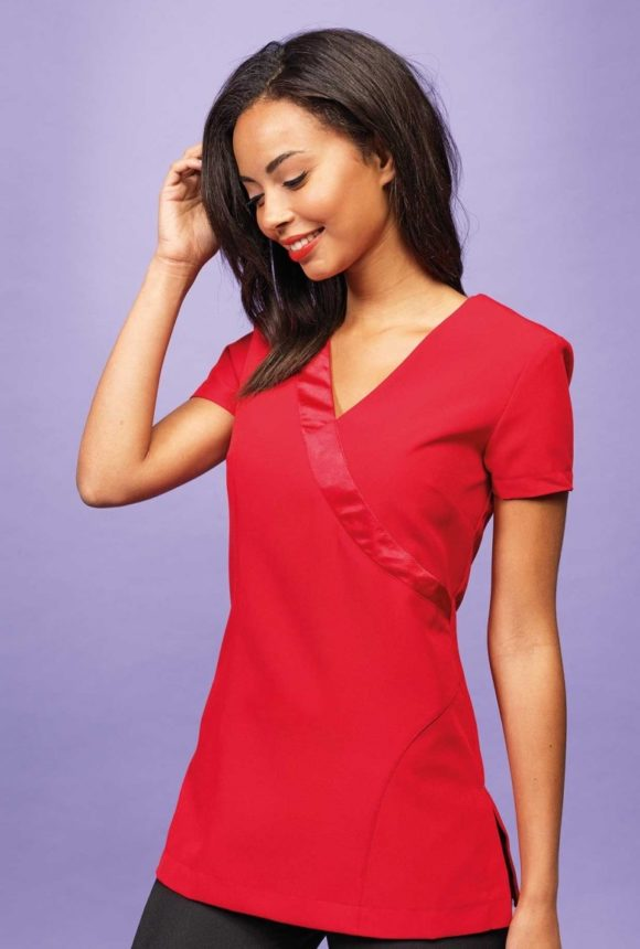 red salon tunic