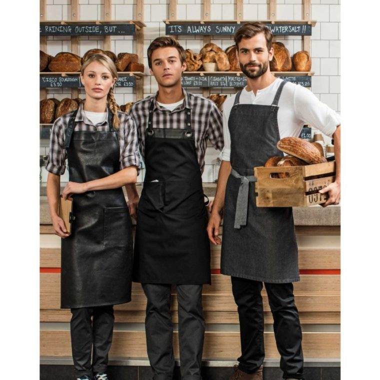 faux leather aprons