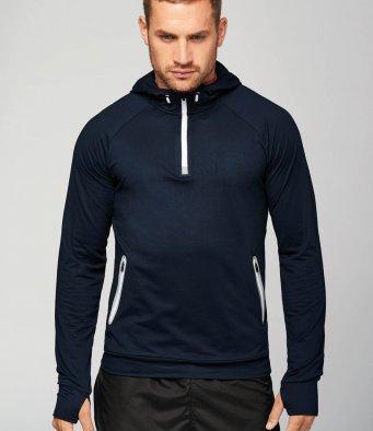 zip neck hoodie
