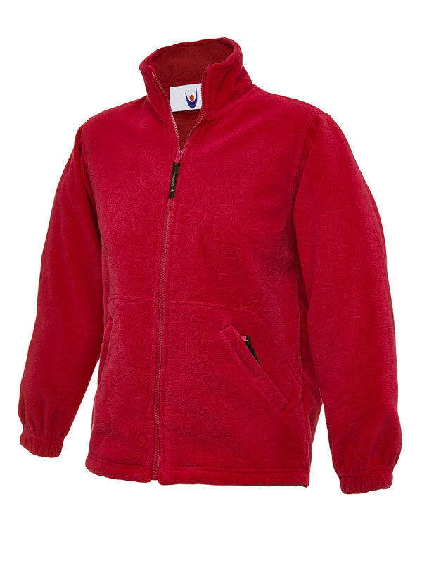Childrens Full Zip Micro Fleece Jacket red