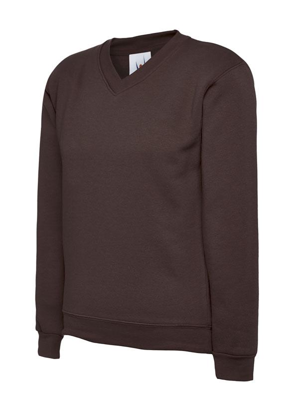 Childrens V Neck Sweatshirt UC206 brown