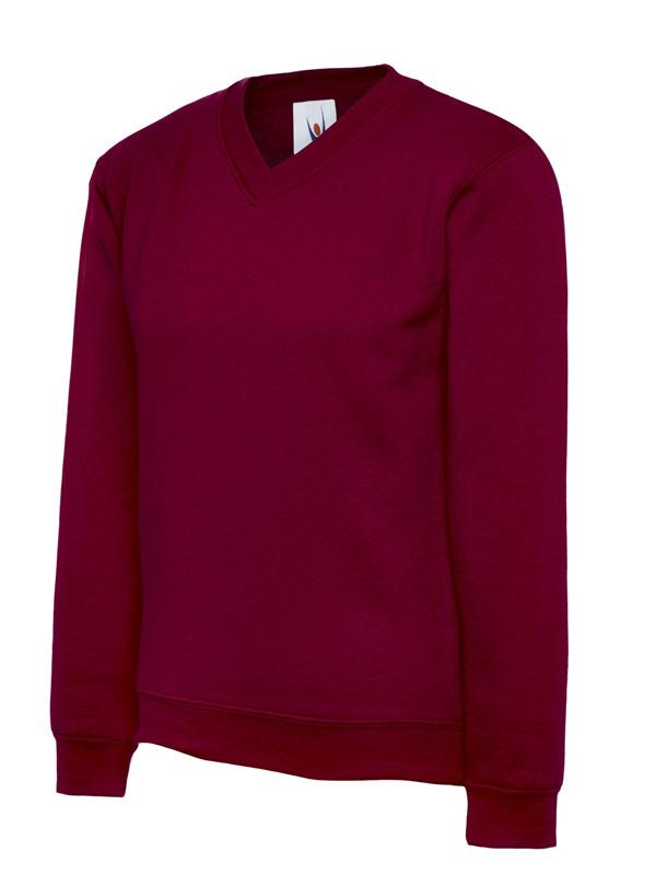 Childrens V Neck Sweatshirt UC206 maroon