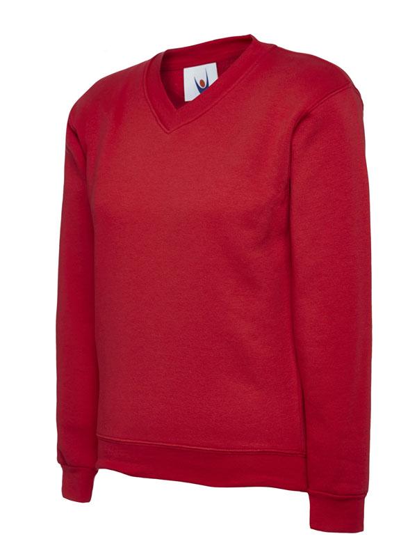 Childrens V Neck Sweatshirt UC206 red