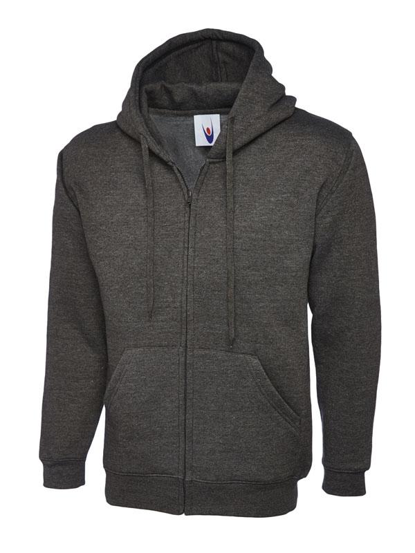 Classic Full Zip Hooded Sweatshirt UC504 charcoal