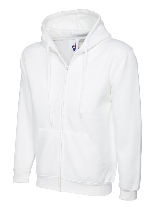 Classic Full Zip Hooded Sweatshirt UC504 white