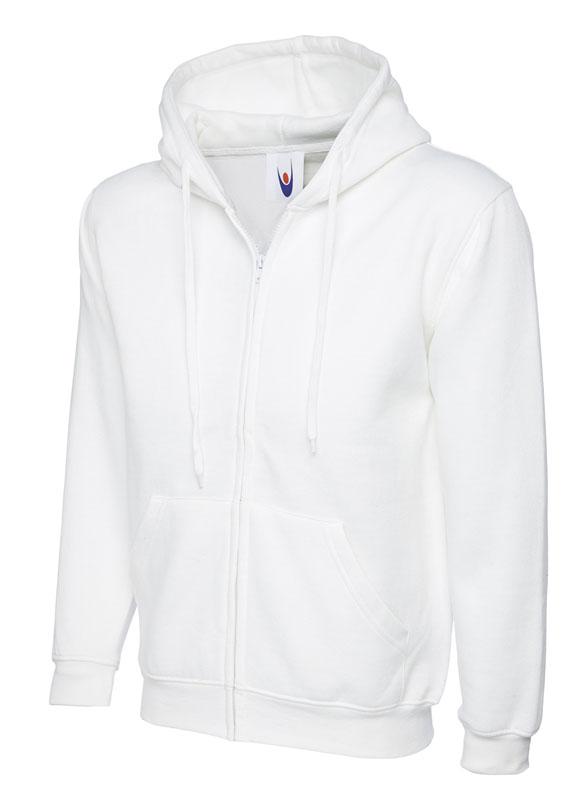 Classic Full Zip Hooded Sweatshirt UC504 white