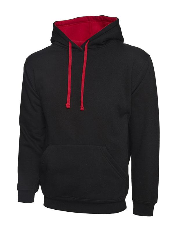 Contrast Hooded Sweatshirt UC507 bk red