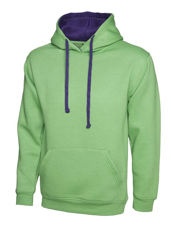 Contrast Hooded Sweatshirt UC507 lime pp