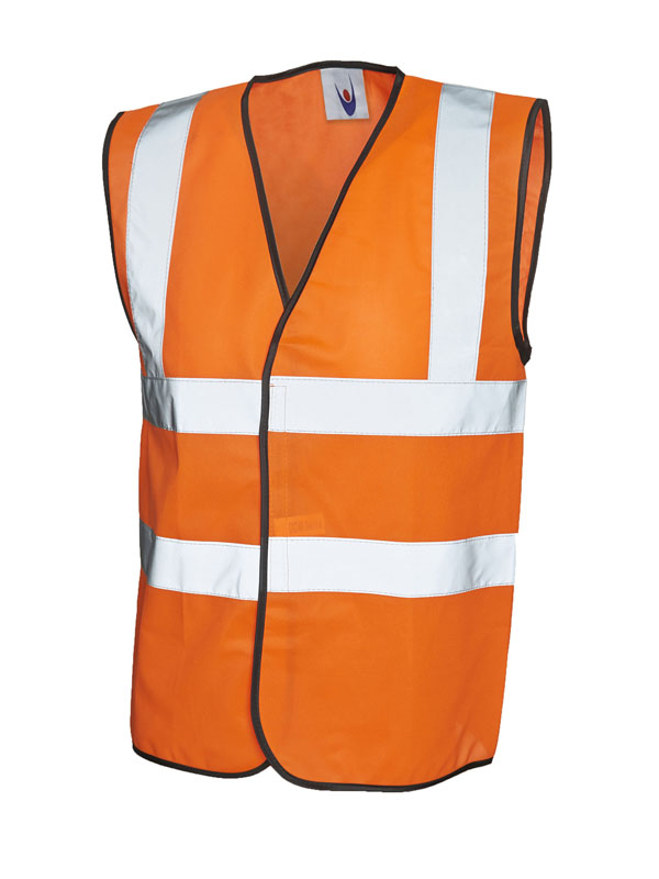 High Vis Sleeveless Safety Waist Coat UC801 Orange
