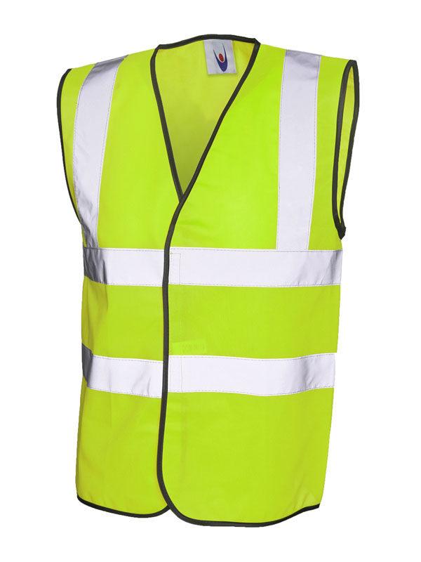 High Vis Sleeveless Safety Waist Coat UC801 Yellow