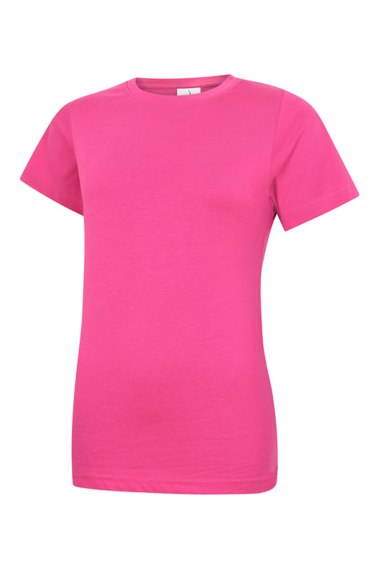 Ladies Classic Crew Neck T Shirt UC318 hot pink