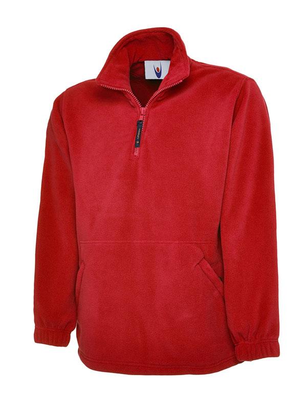 Premium 1 4 Zip Micro Fleece Jacket red
