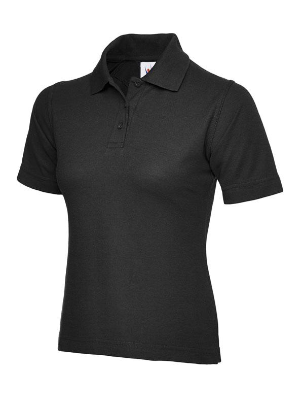 ladies pique polo shirt UC106 black
