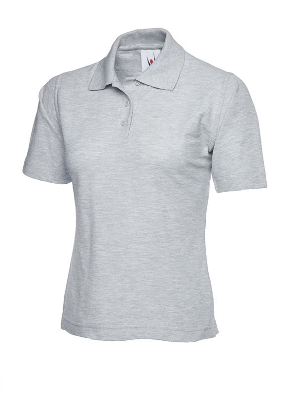 ladies pique polo shirt UC106 heather grey