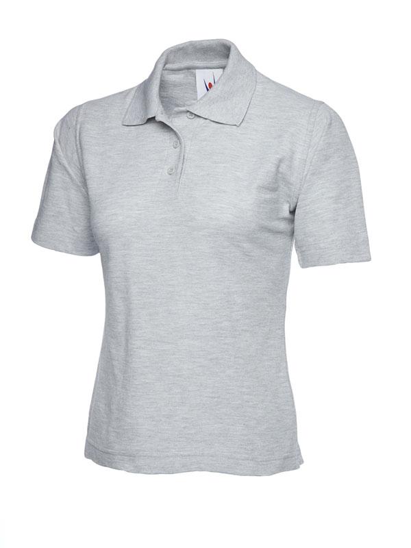ladies pique polo shirt UC106 heather grey