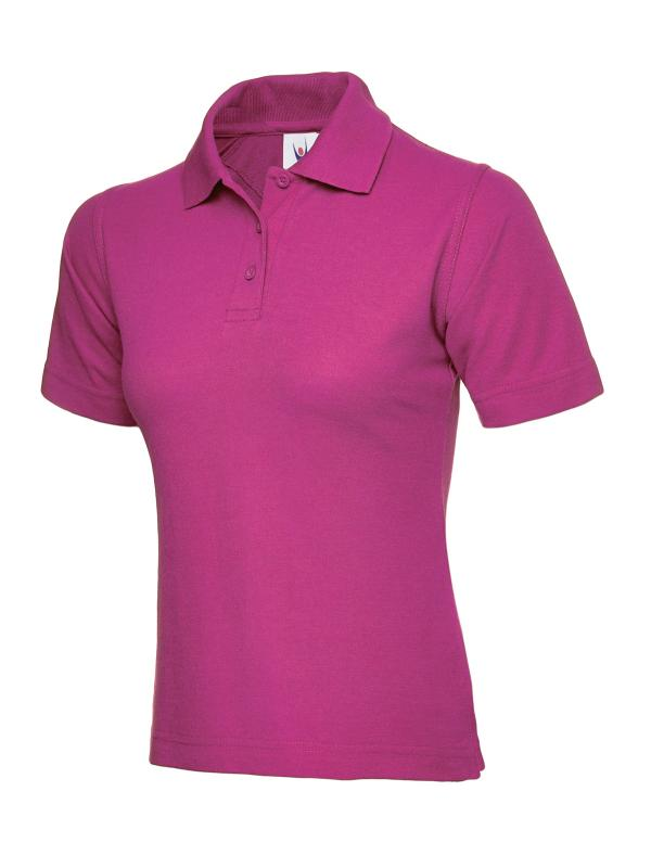 ladies pique polo shirt UC106 hotpink