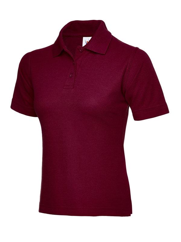 ladies pique polo shirt UC106 maroon