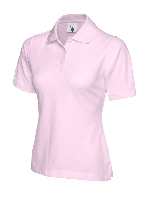 ladies pique polo shirt UC106 pink