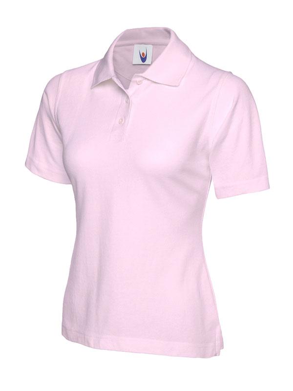 ladies pique polo shirt UC106 pink