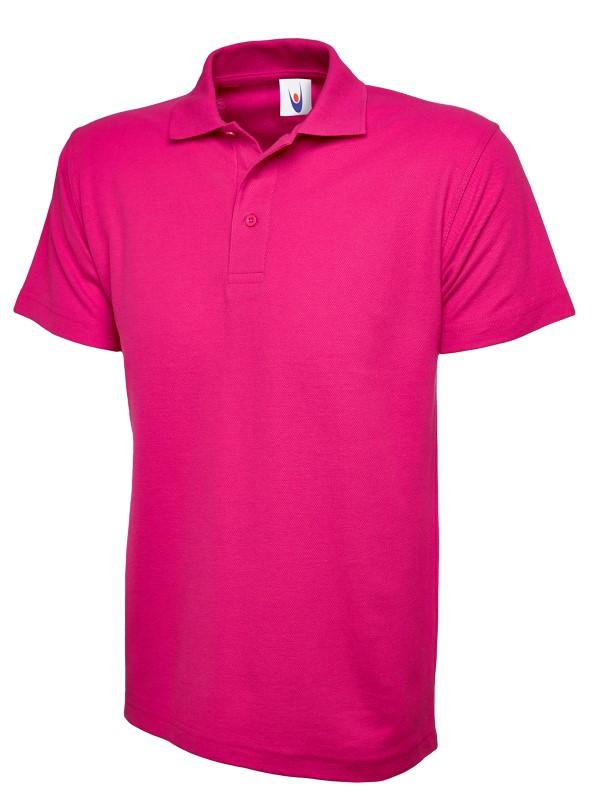 pique polo shirt UC101 hot pink