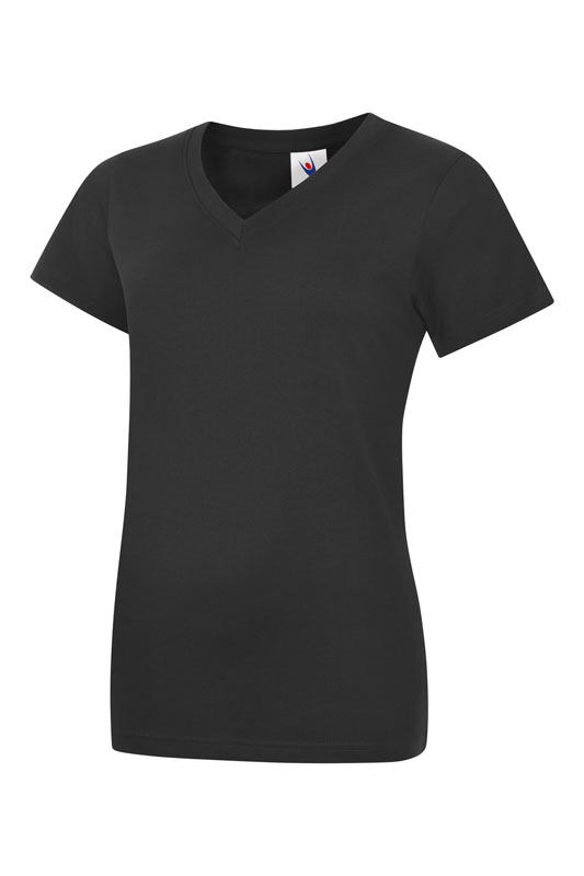 womans v neck t shirt UC319 bk