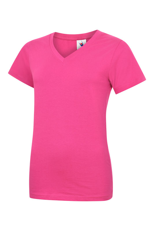 womans v neck t shirt UC319 hot pink